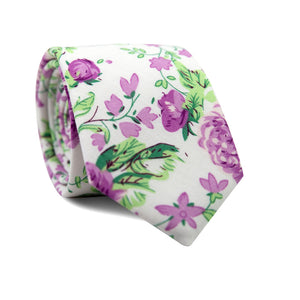 Grapevine Skinny Tie. White background with purple flowers and green vines and leaves.
