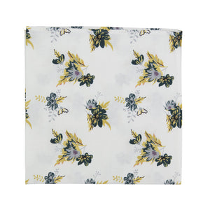 Honeysuckle Pocket Square. White background with yellow, lavender, and teal flowers.