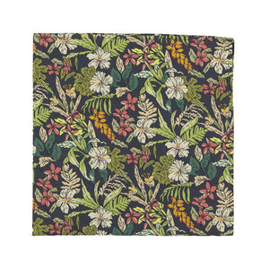 Jumanji Pocket Square. Grayish background with white, green, red, orange and yellow jungle leaves over the entire tie.