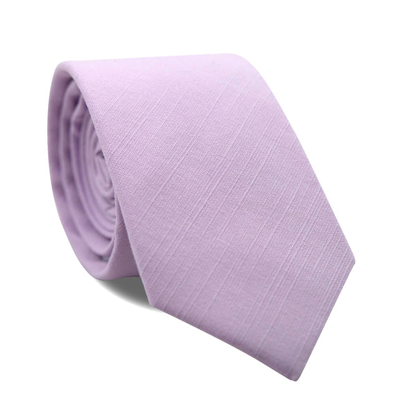 Lavender Skinny Tie. Solid light purple textured fabric.