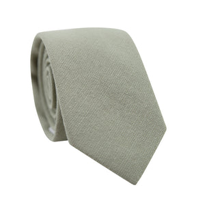 Light Sage Skinny Tie. Solid light sage green textured fabric.