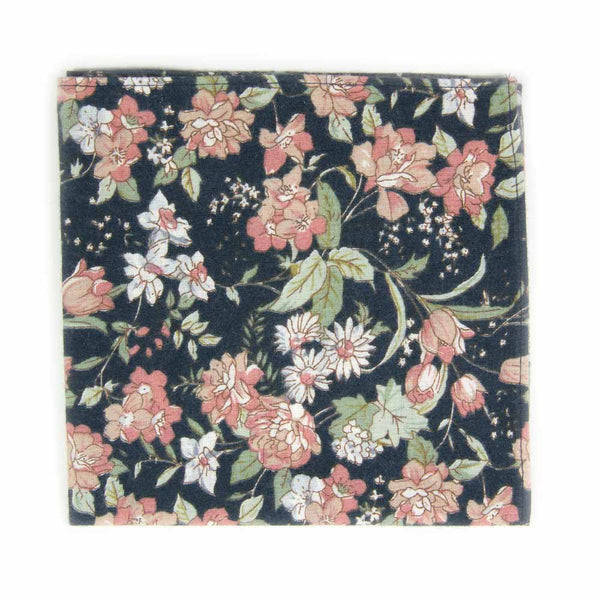 Lotus Pocket Square. Navy background with white and blush pink flowers and sage green stems and leaves.