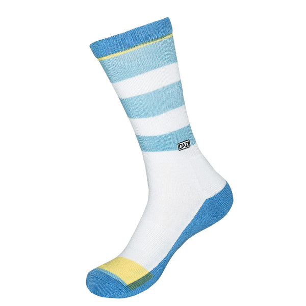 Macaw Socks. White with light blue stripes and one yellow stripe near the toes.