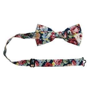 Mardi Pre-Tied Bow Tie with adjustable neck strap. Navy background with yellow, red, and cream flowers and blue leaves.