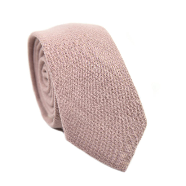 Mauve Skinny Tie. Solid pink textured fabric.