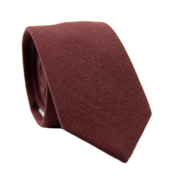 Merlot Skinny Tie. Solid burgundy textured fabric.