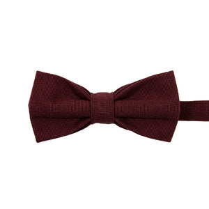 Merlot Pre-Tied Bow Tie. Solid burgundy textured fabric.