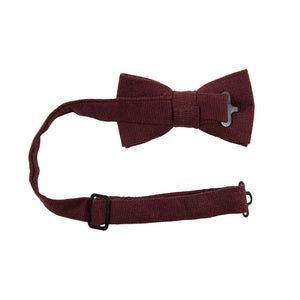 Merlot Pre-Tied Bow Tie with adjustable neck strap. Solid burgundy textured fabric.