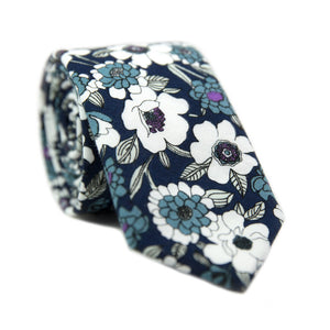Moonlight Daisy Skinny Tie. Navy background with white and lavender flowers.