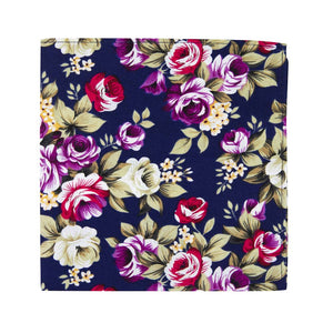 Navy Blue Floral Pocket Square. Navy blue background with pink, red, white and yellow flowers, and green leaves.