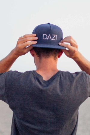 DAZI Embroidered Snapback Hat - Navy Blue