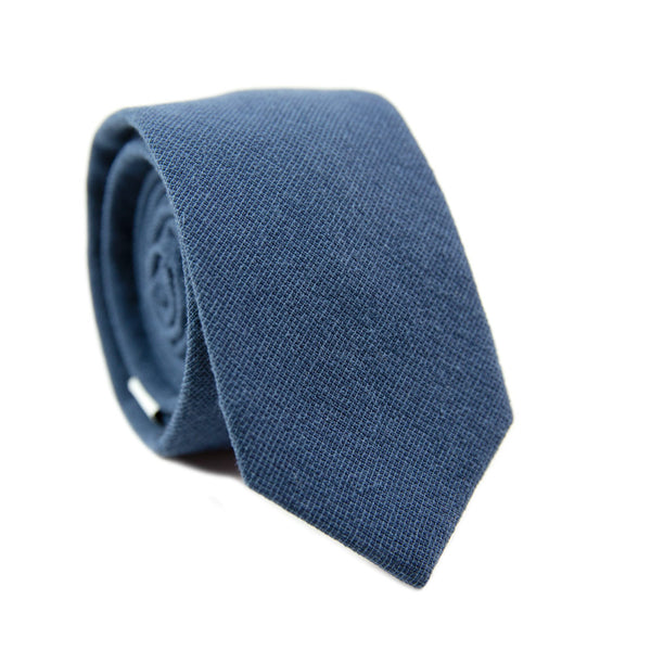 Navy Skinny Tie. Textured solid navy blue fabric.
