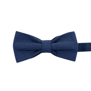 Navy Pre-Tied Bow Tie. Textured solid navy blue fabric.