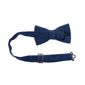 Navy Pre-Tied Bow Tie with adjustable neck strap. Textured solid navy blue fabric.