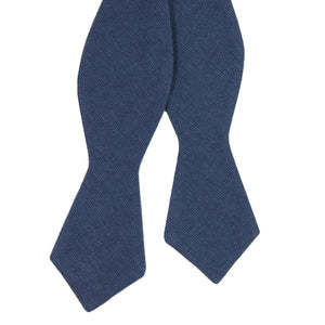 Navy Self Tie Bow Tie. Textured solid navy blue fabric.