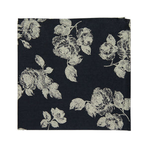 Nightfall Pocket Square. Black background with big cream flowers.