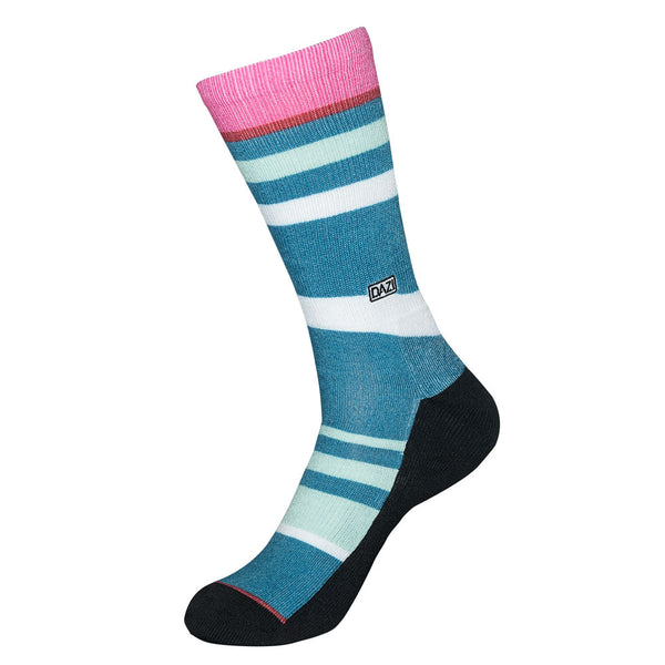 Ollie Socks. Blue with stripes of light green, white and pink.