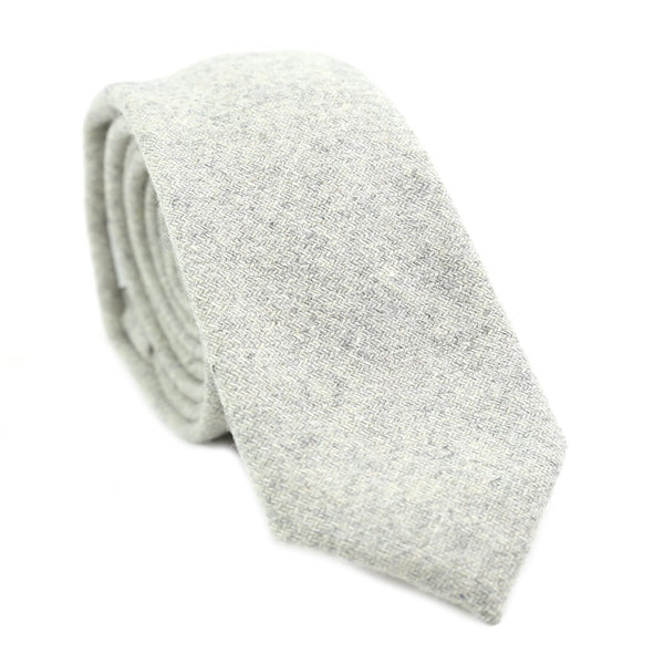 Onyx Skinny Tie. Textured light gray wool fabric.