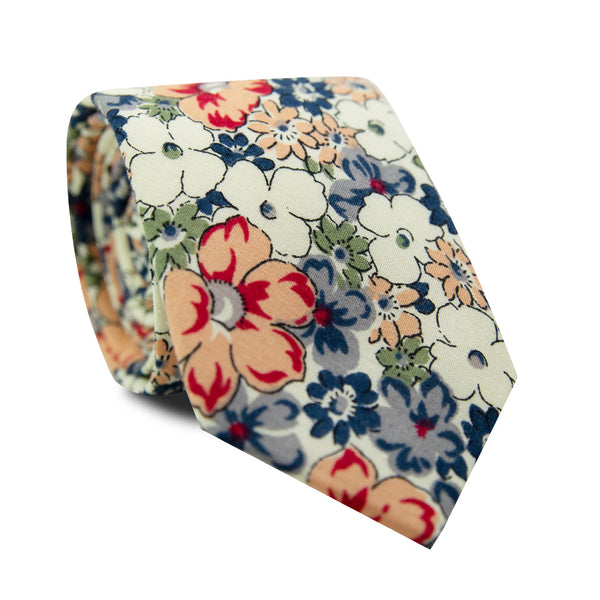 Orange Pansy Skinny Tie. Cream background with orange, blue, sage green, white and lavender flowers.