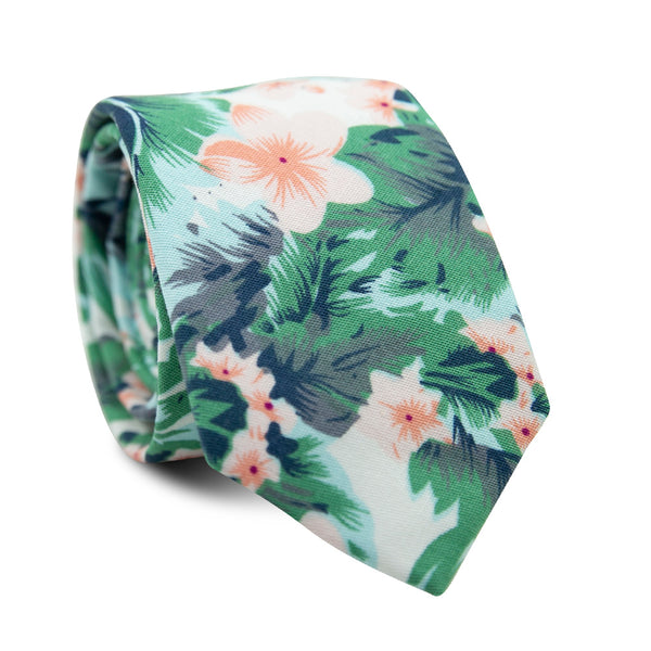 Pacific Skinny Tie. Light blue background with peach flowers, green and gray tropical leaves.