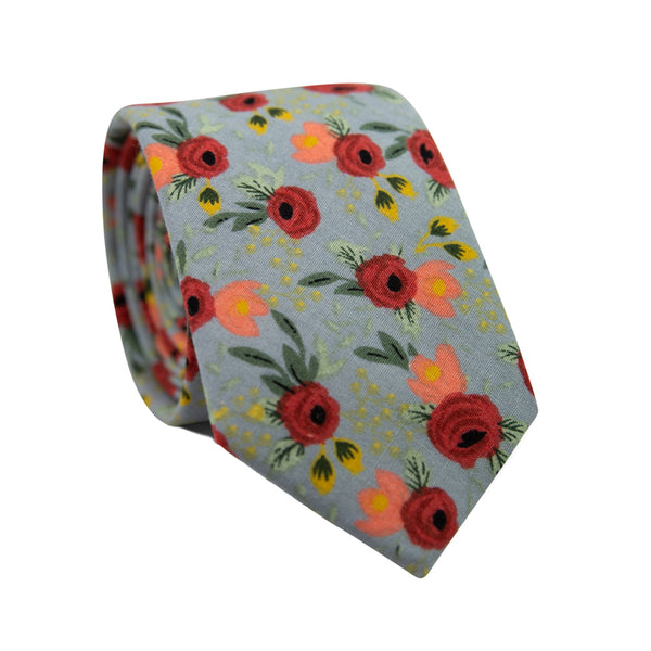 Painted Perennials Skinny Tie. Gray background with red roses and peach, yellow and green leaves and stems throughout.