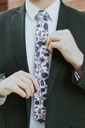 Paisley Daze tie worn with a white shirt and black suit jacket.
