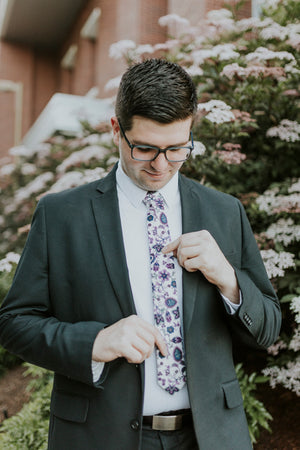 Paisley Daze tie worn with a white shirt and black suit.