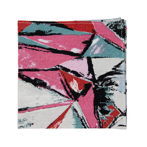 Picasso Pocket Square. Pink, red, black, white and green abstract pattern.