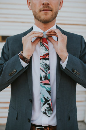 Picasso tie worn with a white shirt and dark gray suit jacket.