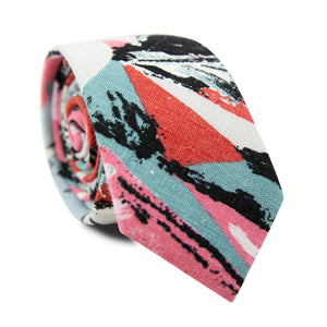 Picasso Skinny Tie. Pink, red, black, white and green abstract pattern.