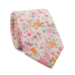 Pink Meadow Skinny Tie. Cream background with orange, light brown, pink and lavender flowers.