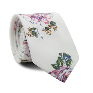 Pixie Skinny Tie. White background with pink, white and yellow flowers, with green leaves and vines.