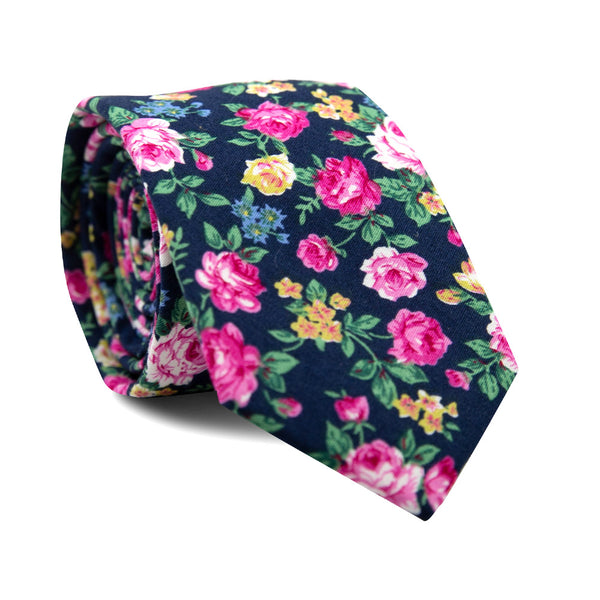 Potted Peony Skinny Tie. Black background with yellow and pink flowers, green leaves and stems.