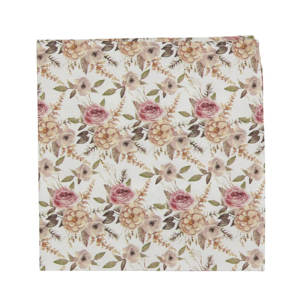 Quicksand Roses Pocket Square. White background with mauve, peach and blush pink flowers. Sage green leaves and branches throughout.