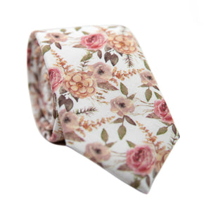 Quicksand Roses Skinny Tie. White background with mauve, peach and blush pink flowers. Sage green leaves and branches throughout.
