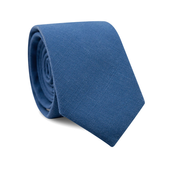 Royal Skinny Tie. Solid blue textured fabric.