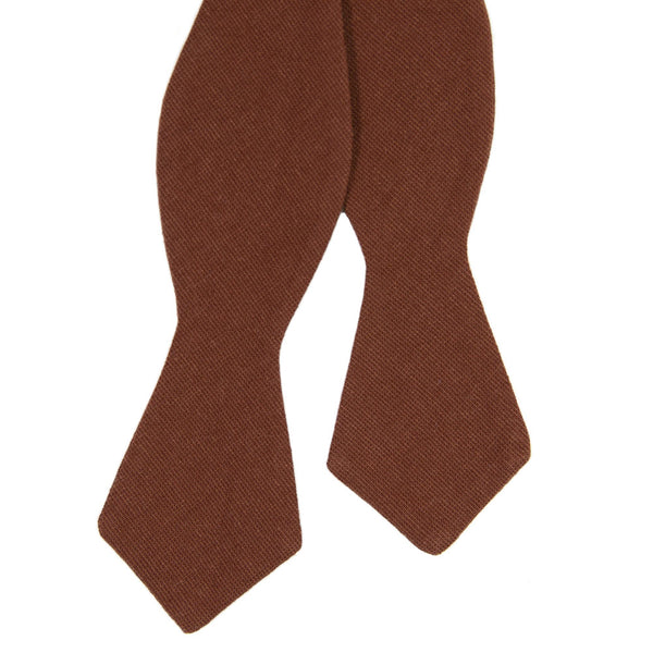 Rust Self Tie Bow Tie. Solid burnt red/orange textured fabric.