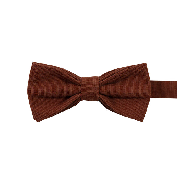 Rust Pre-Tied Bow Tie. Solid burnt red/orange textured fabric.
