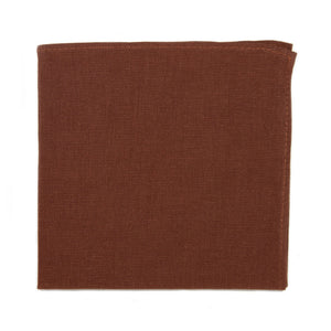 Rust Pocket Square. Solid burnt red/orange textured fabric.