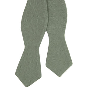 Sage Self Tie Bow Tie. Solid sage green textured fabric.