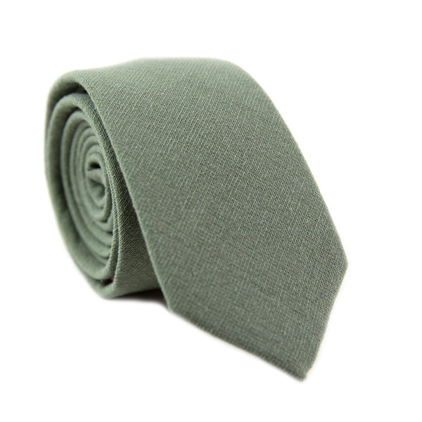 Sage Skinny Tie. Solid sage green textured fabric.