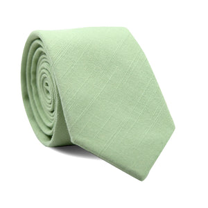 Seafoam Skinny Tie. Solid mint green textured fabric.