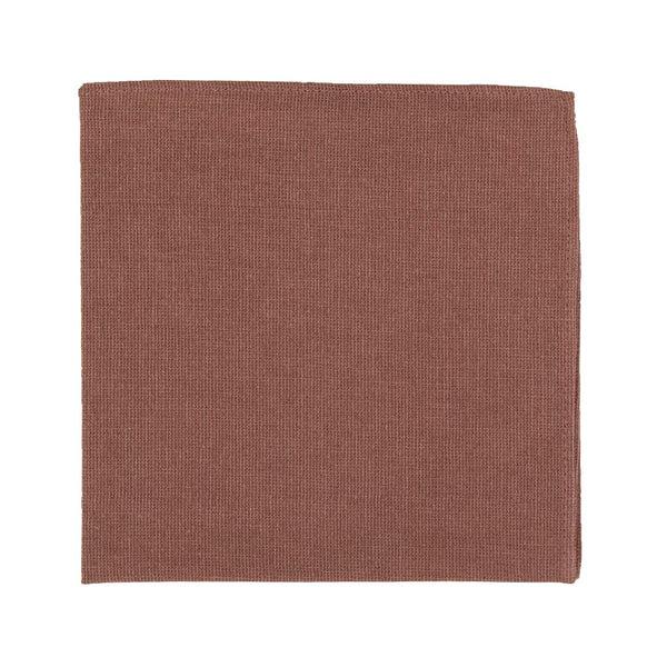 Sedona Pocket Square. Solid light faded red textured fabric.