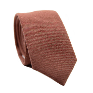Sedona Skinny Tie. Solid light faded red textured fabric.