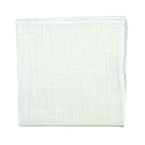 Solid White Pocket Square. Cotton linen blend textured fabric.