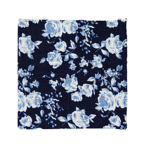 Star Gaze Pocket Square. Dark navy textured background with medium size white and dusty blue flowers.