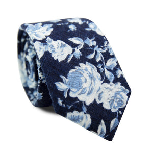 Star Gaze Skinny Tie. Dark navy textured background with medium size white and dusty blue flowers.