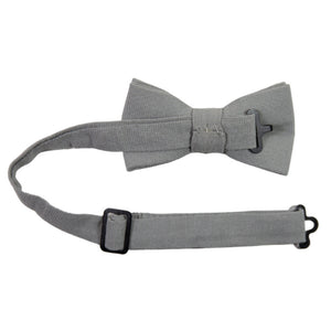Stone Pre-Tied Bow Tie with adjustable neck strap. Solid light gray textured fabric.