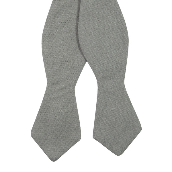 Stone Self Tie Bow Tie. Solid light gray textured fabric.