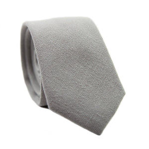 Stone Skinny Tie. Solid light gray textured fabric.